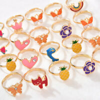 20PCS Kawaii Girl Kids Child Cartoon Adjustable Rings Crystal Rings Jewelry Gift
