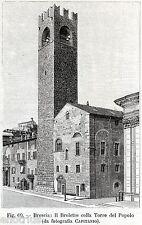 Brescia: Broletto e Torre del Popolo.Lombardia.Stampa Antica + Passepartout.1898