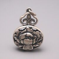 Solid 925 Sterling Silver Peony Pattern Gourd-Shape Pendant 43mm H