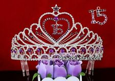 Gorgeous Quinceanera Sweet 16 & 15 Sparkling Purple Crystal Heart Star Tiara