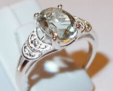 Green Amethyst and Simulated Diamond (1.70ct) Sterling Silver ring, Size N.