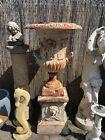 Huge Cast Iron Urn on Pedestal XL Medici Urn with handles on plinth