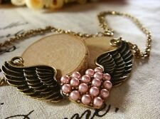 Fashion Charm Angel Wings Pink Peach Heart Pearl Pendant Necklace