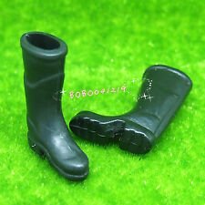 Dollhouse Miniature Garden A Pair Of Rubber Black Boots Height 3.5cm J17b