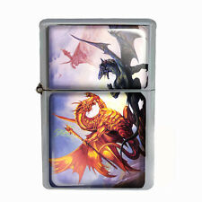 Wind Proof Dual Torch Refillable Lighter Dragon Design-008 Custom Fantasy & Myth