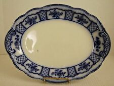 "Grindley MelBourne 14 3/8"" Flow Blue Platter Beaded Edge c.1891 Old Mark"