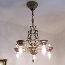 134b Vintage10s 20s Ceiling Light lamp fixture polychrome chandelier art nouveau