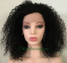 kinky-curly afro wig human hair Wig Black Color Lace Front