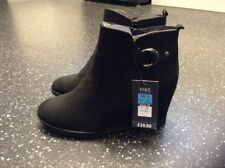 Marks And Spencer Black High Wedge Heel Ankle Boots Brand New Size 5 Wide Fit