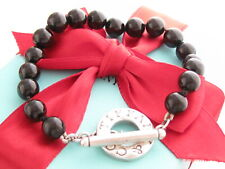 "Tiffany & Co Silver Black Onyx Toggle Bracelet 8"" Box"