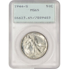 1944-S US Walking Liberty Silver Half Dollar 50C - PCGS MS65