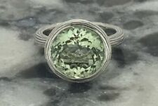 ARIVA GREEN AMETHYST RING SIZE 7 STERLING SILVER 5.27 CARATS