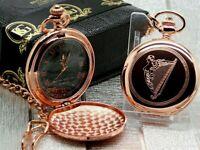 IRISH HARP Pocket Watch Rose Gold Engraved Celtic Gifts Ireland Personalised
