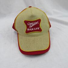 Miller High Life Red Baseball Cap Hat Woven Canvas Pattern Adjustable Snap Back
