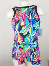 24th & Ocean Palmia Tropical Print High Neck Bikini Swimsuit Tankini Top M NWT