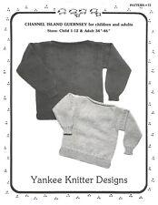 Channel Island Guernsey Child Adult Knitting Sweater Pattern Yankee Knitter #12
