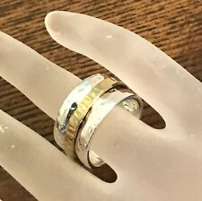 Silpada Sterling Silver Gold Plate Spinner Twirl Cuff Ring Size 9 R1476 Hammer
