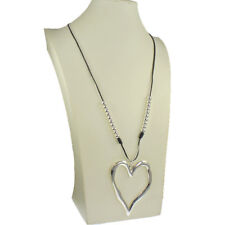 Lagenlook silver colour large heart pendant ball bead black cord long necklace
