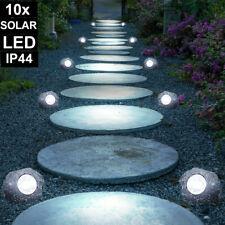 6x Luxus LED Solar Stein Deko Außen Bereich Lampen Rasen Leuchten Park Strahler