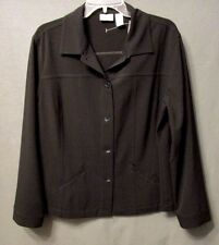 CHICOS women plus size 2 LW BLACK wrinkle resistant JACKET button down EUC s0395