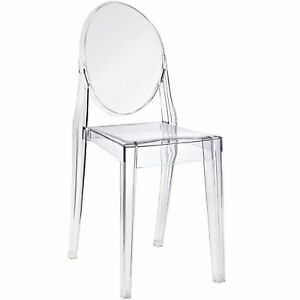 Ghost Side Chair Arm less Set of 2 Crystal Acrylic Stacking Chair
