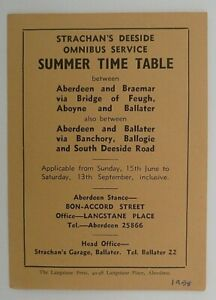 STRACHAN`S DEESIDE OMNIBUS 1958 ~  BUS SERVICES TIMETABLE LEAFLET