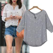 Women's Cotton Star Pattern Medium Sleeve V Neck Loose Blouse Tops T-Shirt  S-XL
