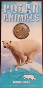 AU - 2013 - POLAR BEAR - ONE DOLLAR COLOUR PRINTED COIN