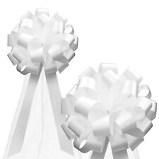"""White Wedding Pull Bows Church Aisle Pew Decorations - 8"""" Wide, Set of 6"""