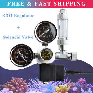 Aquarium Fish Tank CO2 Regulator Dual Gauge Bubble Counter Solenoid Valve UK