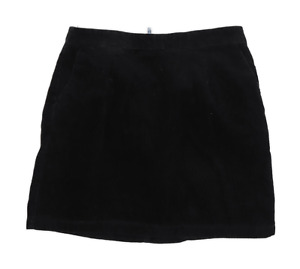 New Look Womens Size 8 Corduroy Black A-Line Skirt (Regular)