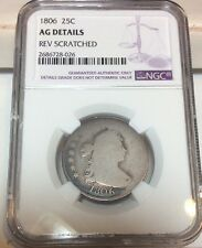 1806 Draped Bust Quarter 25C - NGC AG Details - Rare Early Certified Coin