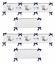 Sweet Jojo White Grey Pink Navy Fox Arrows Baby Girls Room 4pc Crib Bumper Pad