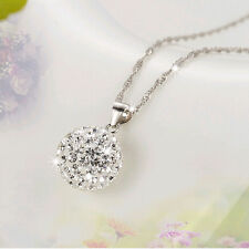 Women's silver Plated 10mm DISCO BALL Austrian crystal necklace pendant New hot!