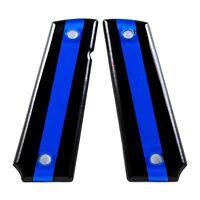Custom 1911 Full Size Diamond Polish Ergonomic Acrylic Grips Thin Blue Line