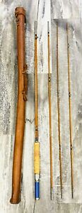 Vintage Montague FLY ROD Genuine Tonkin Split Bamboo Fly Rod 2 Tips Leather Tube