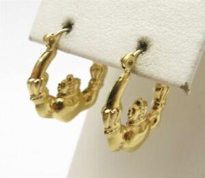 "14K Yellow Gold Irish Claddagh Hoop Earrings 7/8"""