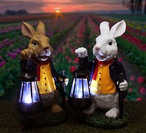 Garden Rabbit Statue with Solar Lantern