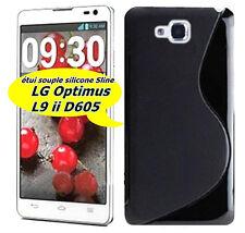 OPTIMUS L9 ii LG D605 COQUE ÉTUI FORME S LINE SOUPLE SILICONE COULEUR NOIR