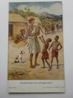 Central African Village - Child Life Series Vintage Postcard Art Artist Signed