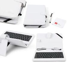 7-inch Keyboard Folio Case in White w/ Micro USB QWERTY Keyboard for Yuntab Q88