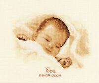 Vervaco - Counted Cross Stitch Kit - Birth Record - Sleeping Baby - 200245.087