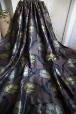 BROWN PAIR CURTAINS,66WX90D,CHARCOAL,YELLOW,LEMON,EYELET,METALLIC SHIMMER, LINED