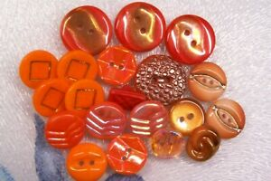 20 vintage (unused) mixed orange glass buttons/iridescent/gold lustred