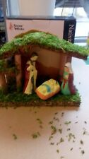 Small nativity set. Christmas ornament. Wooden stable with Ceramic figures.