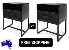 SALE 2 Side Drawer Bedside Table Cabinet Nightstand Bedroom Lamp Office Black AU