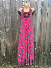 YESSICA by C&A Women's M Pink Sun Dress Maxi Halter Neck Backless Beaded NWOT