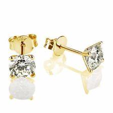 1.00 CARAT VS1 CERTIFIED ROUND CUT DIAMOND STUD EARRINGS 14K YELLOW GOLD