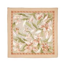 Foulard en soie Petit Foulard Beige Creme motif FleurS, Carre en soie Cadeau