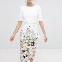 Ted Baker Layli Gem Gardens Crepe Belt Tailored Bodycon Pencil Midi Dress £179